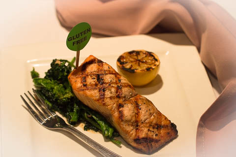 Grilled Salmon fresh salmon grilled on a cedar plank, topped with a balsmaic glaze and served with sauteed broccoli and roasted potatoes